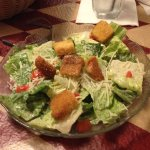 Caesar salad served with dinner.