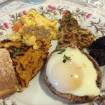A small sampling of the breakfast offering including Portobello Benedict