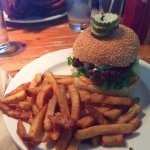 Blue Flame Burger with fries