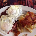 Corned beef hash and eggs (over easy)