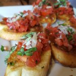 Bruschetta and Chicago-style deep dish.