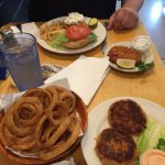 Fish sandwich, clam cake, onion rings and crab cakes