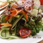 Tasty salad and beautiful presentation.