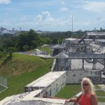 my wife from the top of Fort Charlotte