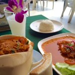 creamy prawn curry and stuffed fish with coconut