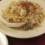 Sizzling plate and fried rice