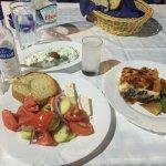 Moussaka, greek salad and tzatziki