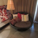 Extra comfy chair in our spacious room.