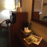 Room was large and well equipped (coffee machine, mini fridge) but no safe,