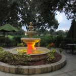 Beautiful fountain and patio just outside the breakfast area