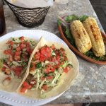 Grilled Chicken Tacos and Grilled Corn on the Cob