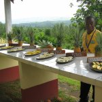 Our guide tells about the different types of pineapples before we sample them.