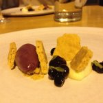 White chocolate and thyme ganache, concord grape sorbet, huckleberries with sparking rose, vin d
