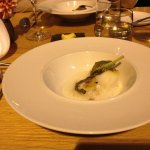 Grilled cod in emulsified clam juice with fresh beans and tarragon with rose of old hill ranch,