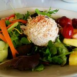 Absolutely delicious lunch today!  Cold plate with chicken salad,  petite house salad & fruit. H