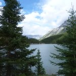Picturesque view of Two Jack Lake from campsite
