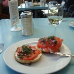 Salmon Bagel with capers - excellent if they still serve it! Ask for it - I did the last time