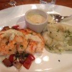 My husband had the seared tuna w/ rice pilaf & I had the NC seared shrimp w/ mashed potatoes; bo