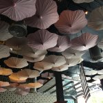 Ceiling with upside down umbrellas