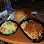 To go veal parmigiano and a side salad.  Wow!!