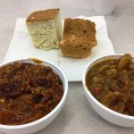 Buffalo stew and chili with bannocks served at the cafeteria