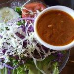 Salad with peanut dressing.