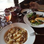 Truffled Wild Mushroom Gnocchi and Seared Halibut with Mussels