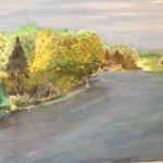 Painting by Edmund A Wise Jr of Langwater off Main Street across from Sheep Pasture.