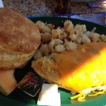 Omlette, potatoes and a bodacious biscuit.