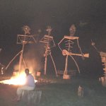Hanging around the bonfire with the driftwood band