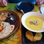 seafood enchiladas & mango gazpacho