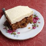 Carrot cake on vintage china. Love the period laminex table