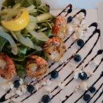 Grilled tiger shrimp salad . Omg
