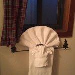 detail of towels, towel rack with alpine motif