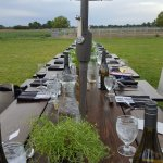 Tables set up on the vineyard property.