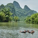 Swimming at Yangshuo Mountain Retreat - Guilin Yangshuo China