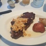 NY Strip Steak, cooked Pittsburgh rare, w/ roasted garlic