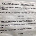 Indicación sobre uso lavandería