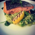 Roasted Fillet of Salmon with Green Risotto, Parmesan and Thyme Oil