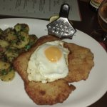 Fried Egg Schnitzel with amazing potato side dish.
