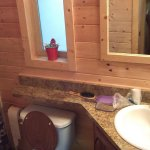 The small bathroom, shower and sink.