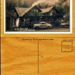wood postcards front and back of Old Zigzag Inn