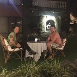 First time visited Nepal a guest from German . Enjoying dinner at water fall garden.