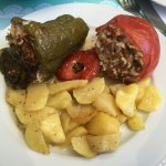 Stuffed vegetables with baked potatoes