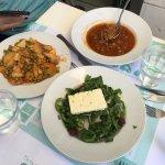 Baked peas, lentil soup and Greek salad