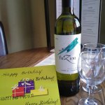 Complimentary birthday wine and card