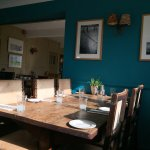 Dining room at the Anchor: maritime colours, original paintings and prints, solid traditional fu