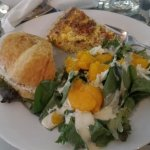 Trio of half chicken sandwich, mandarin orange salad and bacon quiche