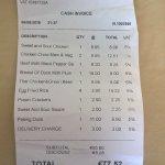 takeaway food order from City Wok. 6 people