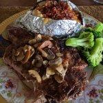 steak dinner on main house patio. Yum!